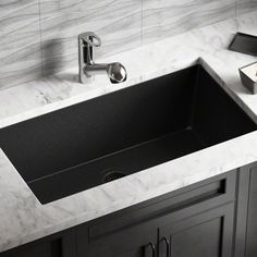 MR Direct Granite Composite L x W Double Basin Undermount Kitchen Sink with Strainers and Flange Finish: Black Best Kitchen Sinks, Apron Sink Kitchen, Double Bowl Kitchen Sink, Farmhouse Sink Kitchen, Kitchen Sink Faucets, Granite Kitchen, Kitchen Cabinets, Black Farmhouse Sink, Inside Cabinets