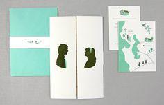 Zooey Deschanel & Ben Gibbard's Pacific NW Wedding Invitation set. SIGH. By Kate Harmer of Hum Creative.