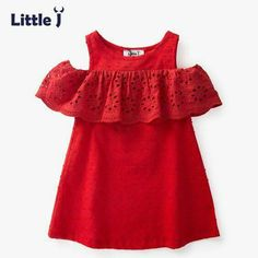Little J Cotton Girls Red Off Shoulder Dress Toddler Hollow Lace Dresses Cute Casual Chi. : Little J Cotton Girls Red Off Shoulder Dress Toddler Hollow Lace Dresses Cute Casual Children Summer Dress Kids Clothes Kids Summer Dresses, African Dresses For Kids, Little Girl Dresses, Summer Kids, Dress Summer, Baby Dress Design, Baby Girl Dress Patterns, Frock Design, Baby Frocks Designs