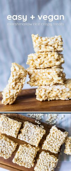 The perfect bit of lazy baking: the kind that needs no baking! Vegan marshmallow rice crispy treats take hardly any work - and hardly any time!