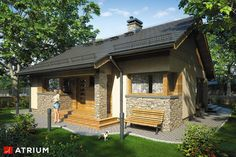 Tani w budowie dom parterowy z dwuspadowym dachem. Village House Design, Village Houses, Tiny House On Wheels, Small House Plans, One Storey House, Weekend House, Gable Roof, World's Most Beautiful, Outdoor Rooms