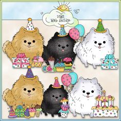 Pomeranian Birthday 1 - Non-Exclusive Cheryl Seslar Clip Art : Digi Web Studio, Clip Art, Printable Crafts & Digital Scrapbooking!