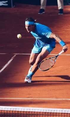 Rafael Nadal / French Open 2015. I love how he is following the first rule of tennis...never take your eye off the ball! This is great!! :-)