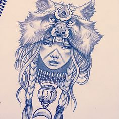 Resultado de imagem para indian girl with wolf headdress Biomech Tattoo, Mädchen Tattoo, Piercing Tattoo, Tattoo Drawings, Body Art Tattoos, Sleeve Tattoos, Piercings, Colar Bone Tattoo, Wolf Headdress
