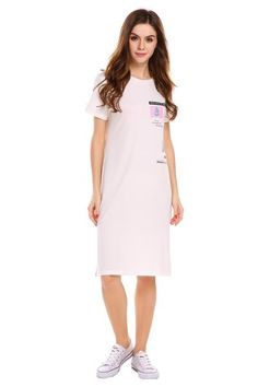 White Casual O-Neck Short Sleeve Print T-Shirt Pullover Dress