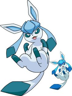 Bigger-Normal Glaceon/Smaller-Shiny Glaceon