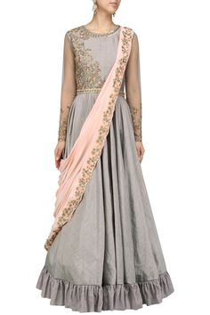 Grey embroidered anarkali with draped dupatta available only at Pernia's Pop Up Shop.