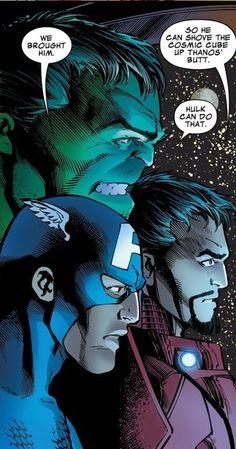 Cap, Iron Man and Hulk talking about Thanos.