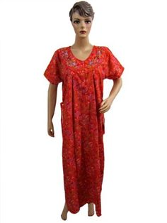 Womens Kaftan, Nightgown Lounge Wear, Evening Dress Red Floral Embroidered Cotton Caftan Medium mogul interior,http://www.amazon.com/dp/B00BNRCK1G/ref=cm_sw_r_pi_dp_YwQmrb00SD4YHP8F