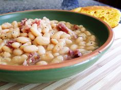 Crockpot White Beans & Ham Soup  Ingredients:  1 lb. (16 oz) white Great Northern Beans   Ham Hock or Ham Bones with Meat   2 tsp onion powder   1-1/2 tsp salt   1 tsp pepper   6 cups water