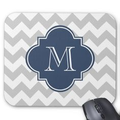 Gray and Navy Blue Modern Chevron Custom Monogram Mouse Pad