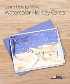 Do you love the ease and elegancy of watercolors? Learn how to paint your own holiday cards! This lesson demonstrates how to make an idyllic winter scene.