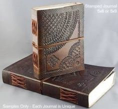 Brown hand stamped leather journal