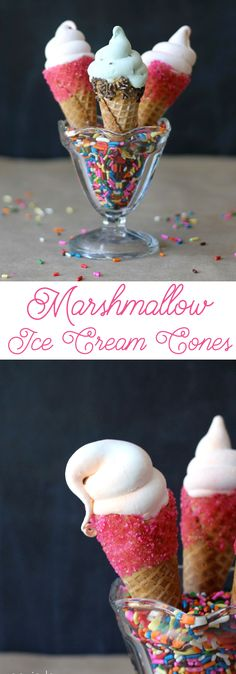 Make your own Marshmallow Ice Cream cones - these are so cute! Orange Creamsicle and Mint Chocolate Chip