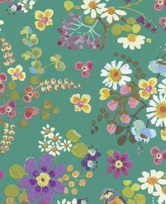 Freja Turquoise Painted Florals Wallpaper Wallpaper 359073 Brewster Wallcoverings Multi Colored Birds Wallpaper Floral & Plants Wallpaper Whimsical & Fantasy Wallpaper, Non Woven, Easy to clean , Easy to wash, Easy to strip How To Hang Wallpaper, Plant Wallpaper, Home Wallpaper, Flower Wallpaper, Pattern Wallpaper, Wallpaper Ideas, Turquoise Wallpaper, Turquoise Painting, Brewster Wallpaper