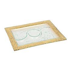 Hammered Gold Glass Platter
