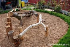 Great goat playground made with natural materials More