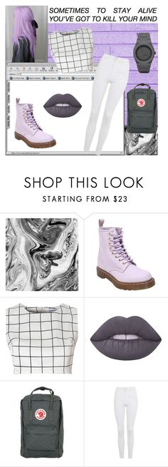 """""""pastel art aesthetic"""" by rockinsmiles ❤ liked on Polyvore featuring mizuki, WALL, Dr. Martens, Glamorous, Lime Crime, Fjällräven, Topshop, CC, purple and pastel"""