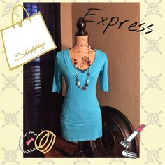 Sexy basic tee! Turquoise sexy basic v neck tee by Express. EUC Express Tops Tees - Short Sleeve