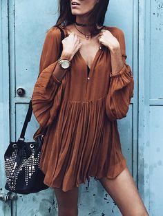 Brown Long Sleeve Pleated Dress