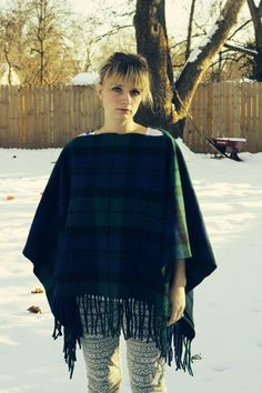 Vintage Pendleton Wool Poncho/blanket// blue and green plaid on Etsy, $60.00