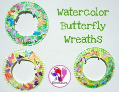 Easy To Make Watercolor Butterfly Wreaths Insect Activities, Spring Activities, Craft Activities, Insect Crafts, Bug Crafts, Mother's Day Theme, Animal Party, Party Animals, Chinese Crafts