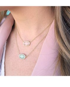 Elisa Pendant Necklace in Chalcedony - Kendra Scott's beloved Elisa necklace in back in chalcedony mint green, perfect for adding a simple pop of color to your favorite looks.