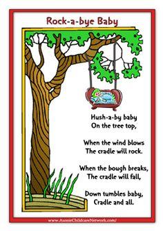 Rock-a-bye Baby Rhymes - Baby Wear Nursery Rhymes Lyrics, Nursery Rhymes Preschool, Nursery Songs, Nursery Activities, Toddler Preschool, Kindergarten Songs, Preschool Songs, Kids Poems, Children Songs