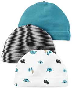 Carter s Baby Boys  3-Pack Little Wild One Assorted Caps Kids - All Kids   Accessories - Macy s aad9cbd41383