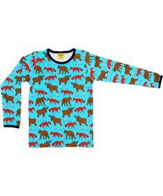 Duns Sweden fantastic blue t-shirt with fox, bear and elk. duns.en.emilea.be