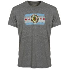 Chicago Blackhawks Men s Grey 1937 Logo Chicago Flag Tri-Blend Tee-Shirt d07a956fd