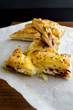 Puff pastry pockets filled with feta and pastirma. Love that crispiness! | giverecipe.com | #puffpastry #pastry #pastirma