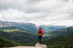 Woman hiking in the Dolomites