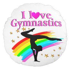 PRETTY RAINBOW GYMNASTICS CHAMPION ROUND PILLOW http://www.zazzle.com/mysportsstar/gifts?cg=196701621872813315 #Gymnastics #Gymnast #IloveGymnastics #Gymnastgifts #WomensGymnastics #USAGymnastics #Gymnasticsgifts #Gymnastgift