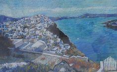 Santorini II – Nicolae Moroșan | EliteArtGallery - galerie de artă Santorini, Romania, Graphic Art, City Photo, Artist, Painting, Artists, Painting Art, Paintings