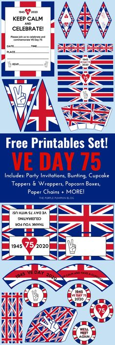 These Free Printable VE Day Decorations are just what you need to commemorate the anniversary of Victory in Europe Day. We might not be able to have the street parties as planned, but we can stil Party Food Labels, Party Printables, Free Printables, Outfits Winter, Outfits Spring, Backpacking Europe, Birthday Invitations Kids, Party Invitations, Victory In Europe Day