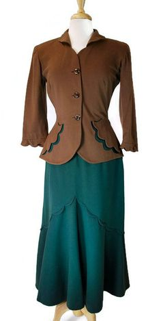 1940's Green & Brown Suit |  Scalloped Detail on Skirt and Pockets, Collar and Sleeves. | vintage 40s suit | 1940s style