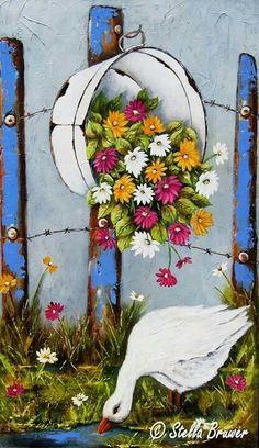 Stella Bruwer Art Floral, Stella Art, Arte Country, Country Paintings, Naive Art, Tole Painting, Learn To Paint, Painted Rocks, Bunt