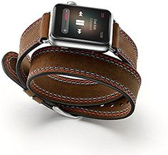 EloBeth For Apple Watch Band, Iwatch Band Genuine Leather Double Tour Watch Strap Wrist Band Replacement Clasp For Apple Watch Series 3/Series 2/Series 1(Double Tour Double Line 42Mm): Amazon.com.au: Electronics