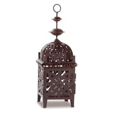 Metal Moroccan Style Lantern - Exotic metal candle lantern. Place several together for an ever-changing display of dancing light! Votive candle only
