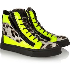 Giuseppe Zanotti Neon patent-leather and leopard-print calf hair... ($602) ❤ liked on Polyvore featuring shoes, sneakers, patent leather sneakers, yellow shoes, neon sneakers, giuseppe zanotti sneakers and patent leather shoes