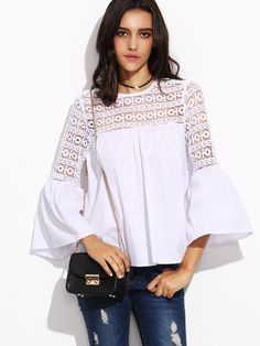 94b7b1a4476 White Lace Insert Cutout Back Bell Sleeve Top -SheIn(Sheinside) Блузы  Рубашки