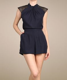 Take a look at this Navy Crochet-Shoulder Romper on zulily today!
