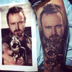 #Tattoos #Inked Aaron Paul / Breaking Bad tattoo/ Portrait