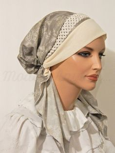 Pre-tied Headband Tichel Bandanna Snood Gray Floral Print Braided Elastic Trim