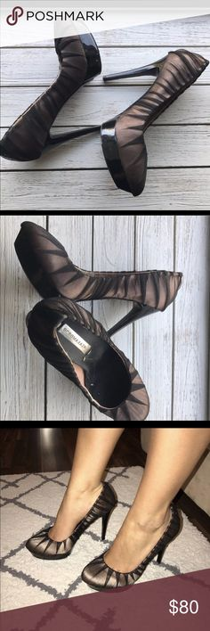 ⏳Woman's BCBG Maxazria heels pumps shoes Heels 5-5.5 inches shoes are in good condition . Comfortable because of the platform in the front .. gently worn (naked black satin) BCBGMaxAzria Shoes Heels