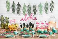 Tropical Leaves Decorations - Moana Party Hawaiian Party Decor UK - Pretty Little Party Shop Aloha Party, Party Fiesta, Festa Party, Luau Party, Flamingo Party, Flamingo Birthday, Luau Birthday, 25th Birthday, Party Box