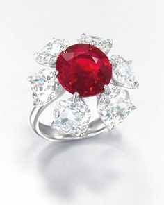 A 6.04 carat Burmese ruby and diamond ring is expected to fetch 2.5-3.8 million at Christie's Hong Kong on May 29