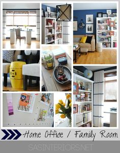 Home Office / Family Room Reveal with Navy walls & Yellow accents by @Jenna_Burger via sasinteriors.net