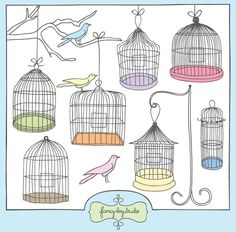 A collection of pretty birdcages with branch, string, stand and birds. Mix and match to create your own combinations.